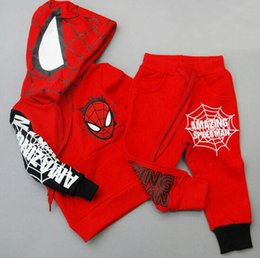 Wholesale Spiderman Trousers - 2016 autumn winter boy clothing set Children Spiderman Tracksuit hoodie coat+trousers baby boy clothes Outfits Set