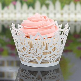 Wholesale Candle Decorating Crafts - 100PCS Cupcake Decoration Wraps Laser Cut Candle Star Cake Wrapping Liner Paper Crafts Christmas Wedding Party Decorating Cupcake Wrappers