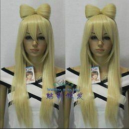 Wholesale Lady Gaga Wig Free Shipping - Free Shipping Heat Resistant >>Lady Gaga Blonde Straight Wig+PONYTAILS CLIP GAGA BOW