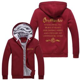 Wholesale Cardigans Unisex - New Winter Casual Harry Potter Printing Hoodie Super Warm Thicken Fleece Zip Up Sweatshirt Coat Unisex Red