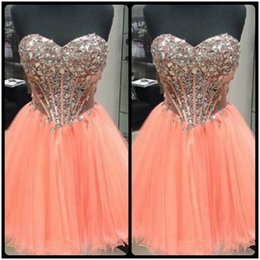 Wholesale Real Sample Short Sweetheart Dresses - Bling Bling Real Sample 2017 Ball Gown Sweetheart Crystals Prom Dresses Beaded Short Party Gowns Formal Custom Made