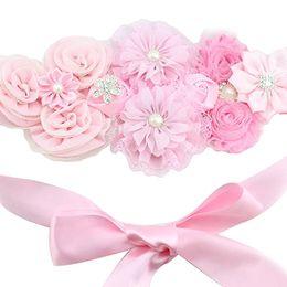 Chic ceinture de maternité nouveau-né Photo Prop fleur filles mariée strass ceinture filles à la main fleur ceinture HJ121 ? partir de fabricateur