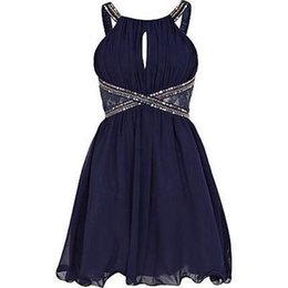 a57b51544f3 Courtes robes de soirée paillettes 2016 petit noir clé trou cou sexy robes  de bal en mousseline de soie mini-dos ouvert pas cher simple robe de  cocktail ...