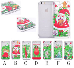 Wholesale Clear Plastic Christmas Trees - Christmas tree Quicksand Star Santa Claus Clear Liquid Glitter Phone Cover for iPhone 5s 6 6s Plus 7 7plus Samsung S6 S7 S7 edge