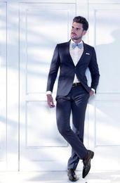 Wholesale Modern Khaki Pants - Navy Blue Prom Suit Newest Modern Groom Tuxedos Groomsman Wedding Suit Formal Business Party Evenning Suit One Botton (Jacket+Pants )