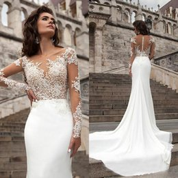 Wholesale See Through Chiffon Tops - Sexy 2016 Illusion Bodice Lace Appliques See Through Top Long Sleeves Beach Wedding Dress Chiffon Bridal Gowns with Court Train Custom
