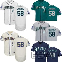 Wholesale Authentic Jersey 58 - 2017 Men's Seattle Mariners 58 Evan Scribner Authentic Flex Base baseball Jersey with 40th Anniversary Patch White Green cream grey blue