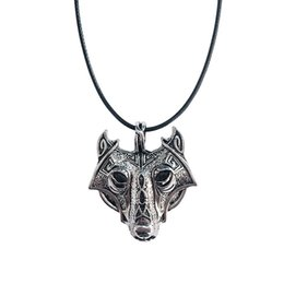 Wholesale Vintage Compass Charm - Vintage Nordic Wolf head Amulet Viking Pendant Necklace Norse Alloy Viking Compass Necklace Jewelry Christmas Gift For Best Friend