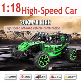 Wholesale Lipo Truck - Wholesale-20KM H 1:18 Scale High Speed Electric RC Car 4WD Shaft Drive Truck Radio Remote Control Toys Car Model with lipo Battery
