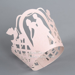 Wholesale Christmas Wrappers - 100pcs*Free Shipping Laser Cut Boyand Girl Dancing Paper Cupcake Wrapper Liner for Wedding Christmas Birthday Party muffin Holder Decoration