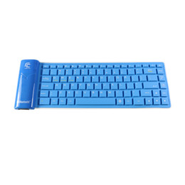 Wholesale Silicone Keyboard Blue - KB-6116 Big size-- universal Wireless Bluetooth Keyboard Portable foldable Silicone BT Keyboard for ipads Samsung tablet Black Blue color