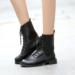 Wholesale Lace Up Material Heels - Women Fashion Lace up Riding Boots Fashion Ladies Flats Snow Soft Leather Material Round Toe Boots Size 35-42