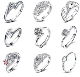 Wholesale Wholesales Jewelry Sets - 925 sterling silver Diamond Wedding Rings for women White gold round brilliant wedding band wedding Ring eternity band High quality jewelry