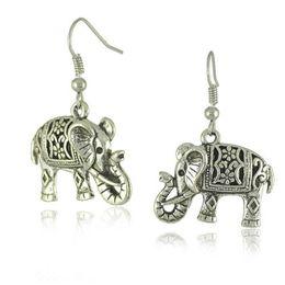 Wholesale Filigree Gold Jewelry - Vintage Women's Ear Stud Unique Tibetan Silver Filigree Carved Elephant Drop Dangle Earrings Jewelry Earing Earring Ear Ring Accessories