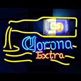 Wholesale Bright Places - Corona Extra bright Real Glass Neon Light Sign Home Beer Bar Pub Recreation Room Game Room Windows Garage Wall Sign