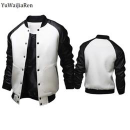 Wholesale Varsity Jacket Designs - Wholesale- YuWaiJiaRen Pu Leather Sleeve Cool College Baseball Jacket Men Fashion Design Mens Slim Fit Varsity Jacket Brand Veste Homme