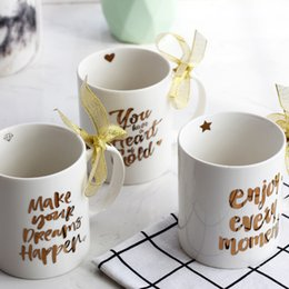 Wholesale Hot Gilt - English Letter Mug Heat Resisting Gilding Coffee Cup Drinkware Gift Many Styles Hot Sale 15qj C R