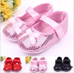 Wholesale Cheap Wholesale Toddler Shoes - New!0-18M Sequin Princess shoes!soft Bow toddler shoes!dancing baby shoes,non-slip cheap kids shoes,Fall girls single shoes!9pairs 18pcs.ZH