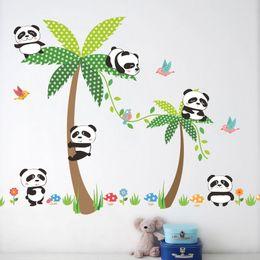 Wholesale wall stickers panda - Custom Babys Wall Stickers Creative DIY Panda on coconut tree Art Mural Cartoon Decals Kids Room Decor