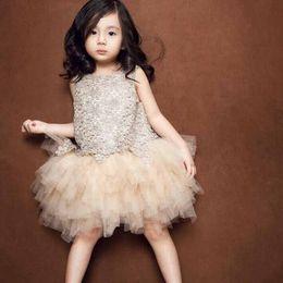 Wholesale Korean Clothing Crochet - 2016 Korean Style Baby Girls Lace Dress Diamond Tutu Multi-Layer Dress Crochet Cotton Elegant Princess Flower Dresses Party Toddler Clothes