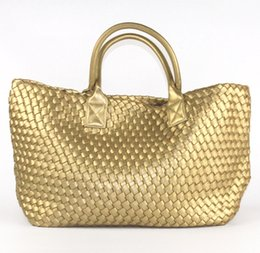 ded1b666619 Discount designers bags silver tote - 2016 NEW Fashion Famous Brand PU  Leather Woven Shoulder Bags