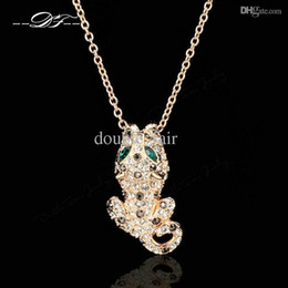 Wholesale Gold Leopard Pendant - Charming CZ Diamond Leopard Necklaces & Pendants 18K Gold Plated Fashion Brand Vintage Jewelry For Women Accessiories DFN093