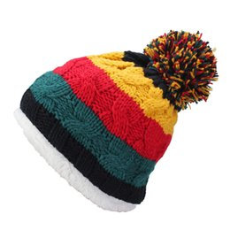 Wholesale Knitted Striped Ball - Women's Warm Winter Thick Wool Hat Knitted Beanie Cap Xmas Woman Lady Skull Beanies Hat Girl Striped Fashion Ball Ski Baggy Caps