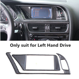 Wholesale Navigation For Audi A4 - Carbon fiber Interior Navigation Panel Warning Lamp Frame Air conditioning Outlet Decoration Cover Trim For Audi A4 B8 2009-15