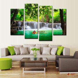Wholesale Hot Picture Frames - Hot Sell 4 Pieces Green Waterfall Modern Wall Art HD Picture Prints On Canvas Modern Painting For Living Room Decor No Frame