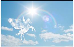 fondos de pantalla de caballos Rebajas Alta calidad personalizada 3d murales de papel tapiz del techo Romántico caballo blanco príncipe arco iris sol cielo azul nubes blancas 3D techo de papel tapiz