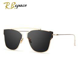 Wholesale Cool Decks - Wholesale- RBspace New Women 5 Colour Luxury Cat Eye Sunglasses Women Sunglasses Double-Deck Alloy Frame UV400 cool Glasses woman oculos