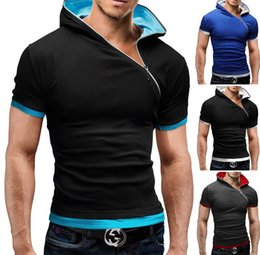 Wholesale short hooded t shirt men - Men Clothing Short T Shirts Fashion Summer Cool Zipper Hooded Tops Short Sleeved Sports Wear Clothes Tees Free Shipping