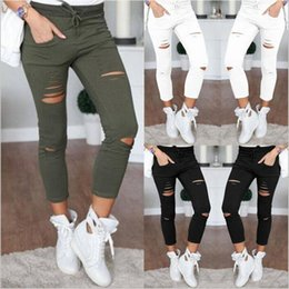 Wholesale Wholesale High Waist Trousers - Leggings High Waist Jeggings Women Denim Tights Fashion Plus Size Pencil Pants Women Print Slim Skinny Foot Pants Casual Hole Trousers B2621