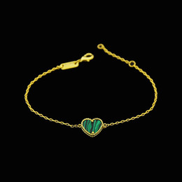 Wholesale Malachite Green Pearl - Heart Charm Bracelet For Women Copper 18k Yellow Gold Plated Green Malachite Red Agate Natural Stone New Fashion Luxury Design Party Jewelry