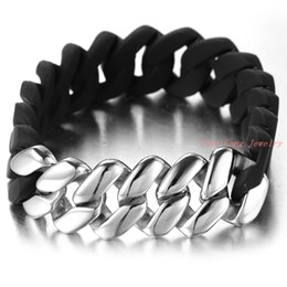 Wholesale Silver Ring Singapore - Mens Hot Fashion Punk Jewelry Silicone Hand Chain Silver Stainless Steel Bracelets & Bangles Free Shipping