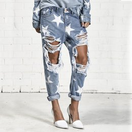Wholesale Jeans Star Women - 2016 Big Hole Jeans for Women With Five-pointed Star Ripped Jeans Light Blue Denim Pants boyfriend jeans for women