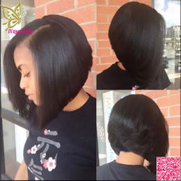 Pelucas brasileñas en forma de u online-Corto Bob U parte pelucas cabello humano sedoso brasileño recto cabello humano Upart peluca Bob parte izquierda peluca en forma de U para mujeres negras