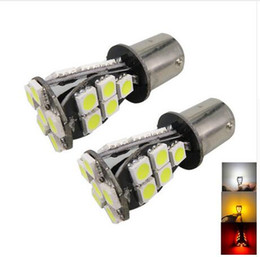 Wholesale P21w Red - 10PCS 1156 BA15S 21 SMD 5050 Amber White CANBUS No Error LED Bulb p21w R5W led Light Source parking 12V
