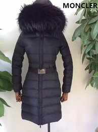 Wholesale Thick Nylon Belts - Women Duck Down Jackets 100% Real Large Raccoon Fur Collar M Down Coat Long with Belt Hooded Thick Duck Down Parkas Black Color