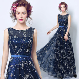 Wholesale Star Plus Dresses - Fashion Sheer Crew Neck Point Stars Evening Gowns ace-up Back Chiffon Long Prom Party Gown With Belt 2017