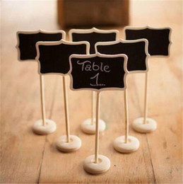 Wholesale Table Numbers Stands - Wholesale Mini Wood Blackboard Chalkboard with Stands Message Labels Buffet Food Signage Place Card Holder Table Numbers Wedding Party Decor