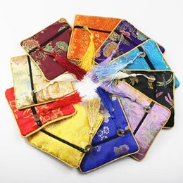 Wholesale Small Silk Jewelry Bags - jewellery pouch real silk Silks and satins small packing bag Buddha beads bag Tassel brocade bag 24pcs lot