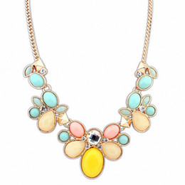 Wholesale Statement Bubble Necklace Flowers - Wholesale-Bubble Bib Chunky Statement Necklace Women Flower Necklaces & Pendants Summer Style Jewelry For Gift