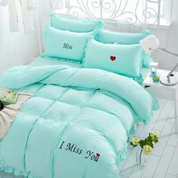 Wholesale Linen Bedding Set - 6 Colors I Miss You Embroidery Washed Cotton Bedding Set 4Pcs Comforter Duvet Cover Sheet Sets Bedclothes Bed Linen Valentine's Day Gift