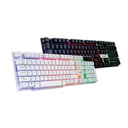 Wholesale Backlight Computer Keyboards - Computer lol dota backlight LED keyboards for laptop PC Phelps FV - Q3A colorful glowing crystal game suspension home office keyboard