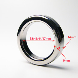 Wholesale timed sex toy - A024+ (9mm thickness) 38mm,41mm,44mm,47mm stainless steel cockring male metal cock rings sex toys help erection extending sex time