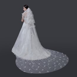 Wholesale Wholesale Cathedral Wedding Veils - Best Selling High-Quality Tulle Netting Beads Long Romantic three Layer Chapel Length Bridal Veil Wedding Veil Lace Purfle with Comb BD073