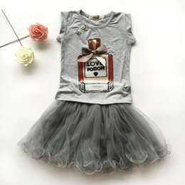 Wholesale European Suit Skirt - 2016 fashion girls skirt summer sets,2 pcs white cartoon t-shirt+black pettiskirt lace suits,2 colors baby girls clothes 2-7 year