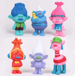 Wholesale Movie Action Toy - 6Pcs Set 2016 Dreamworks Movie Trolls Poppy DJ Suki Guy Diamond Cooper Branch Critter Skitter Boards PVC Action Figures Toys