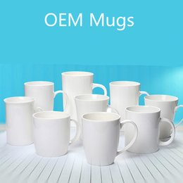 Wholesale Logo Printing China - Coffee Mugs Ceramics Cups Withe Mug Beer Wine Glasses Print You Own logo Casual Easy Life Cups Free DHL